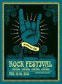 Rock Festival poster design template with devil horns gesture