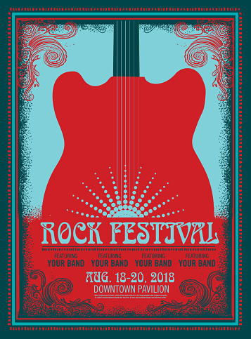 Rock Festival poster design template with electric guitar