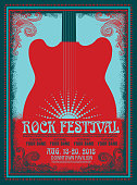 Rock Festival poster design template with electric guitar. Easy to edit.