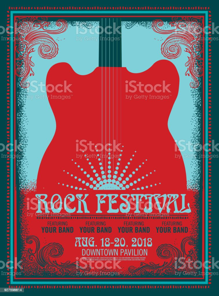 Rock Festival poster design template with electric guitar vector art illustration