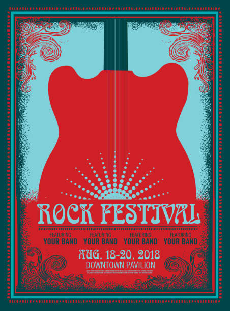 rock festival poster design template with electric guitar - instrument strunowy stock illustrations