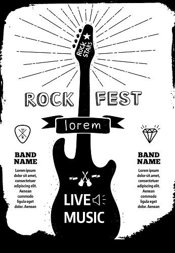 Rock festival poster. Vector black - white illustration