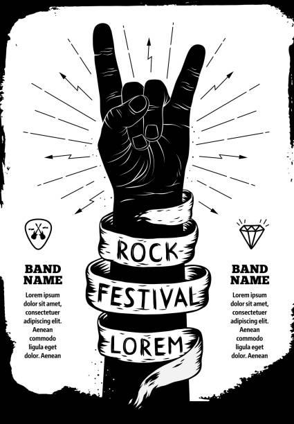 rock festival poster - rock n roll stock illustrations, clip art, cartoons, & icons