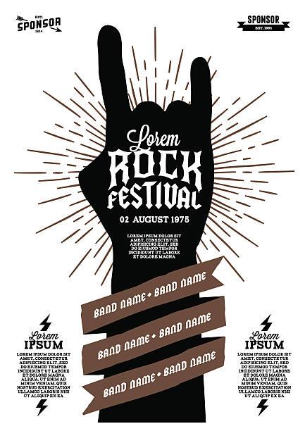 ilustraciones, imágenes clip art, dibujos animados e iconos de stock de rock festival póster - tatuajes de estrellas