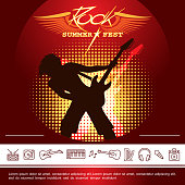 Rock festival promotional poster with musician playing electric guitar and music linear icons vector illustration