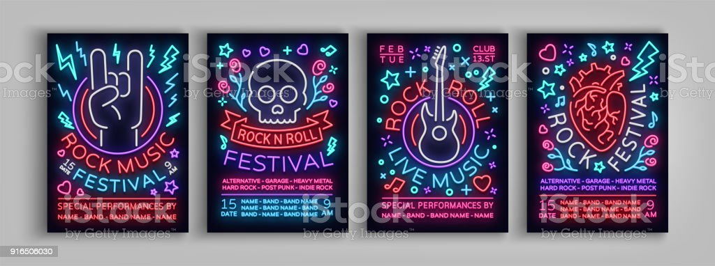 Rock Festival set of posters in neon style. Collection neon sign, an invitation to the concert brochure on roknrol music, bright banner, flyer for festivals, parties and concerts. Vector illustration vector art illustration