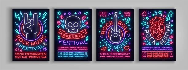 ilustrações, clipart, desenhos animados e ícones de festival de rock conjunto de cartazes no estilo de néon. coleção de néon, um convite para o panfleto de concerto em roknrol música, faixa brilhante, flyer para festivais, festas e shows. ilustração vetorial - música rock