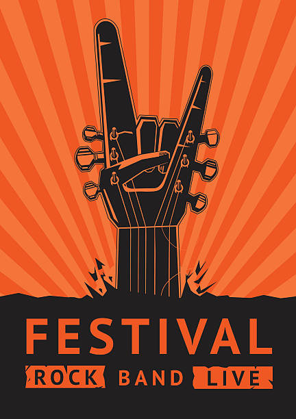 rock festival. - rock n roll stock illustrations, clip art, cartoons, & icons