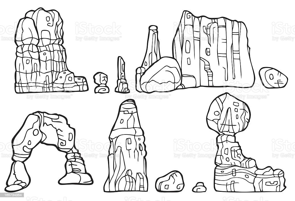 Rock Formation in Black and White vector art illustration
