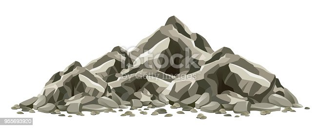 Rock formation on a white background