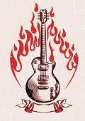Electric guitar & stylised flame, vintage rock-music design; layered vector artwork