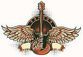Rock guitar winged emblem