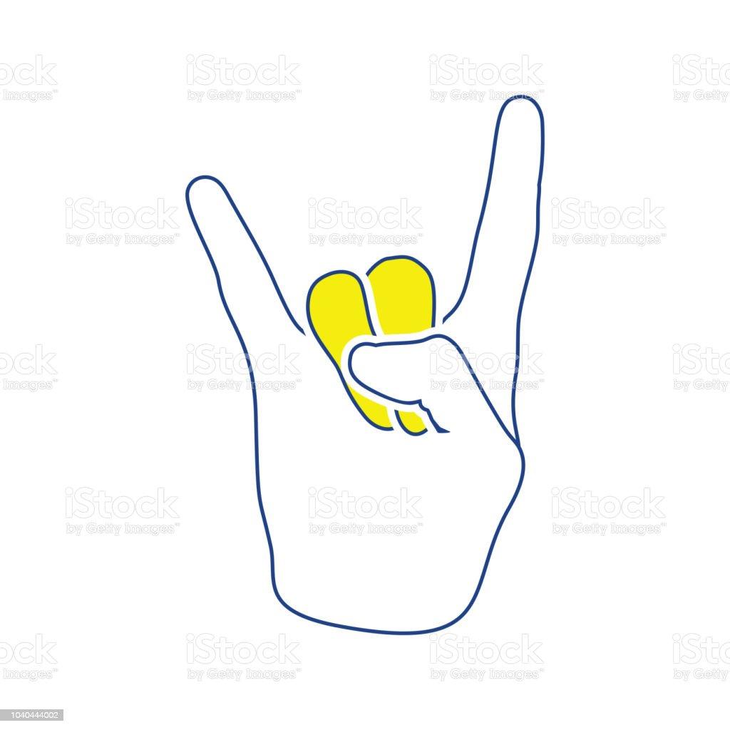 Rock hand icon vector art illustration