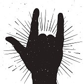 Rock hand sign silhouette, grunge template for your slogan, text