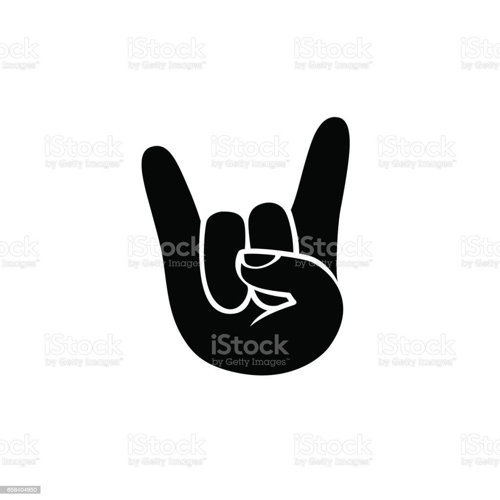 Rock icon. Hand sign of horns. Black on white vector art illustration