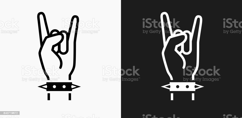 Rock Icon on Black and White Vector Backgrounds vector art illustration