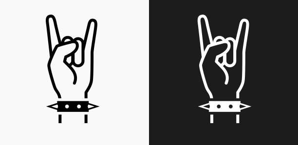rock icon on black and white vector backgrounds - rock n roll stock illustrations, clip art, cartoons, & icons