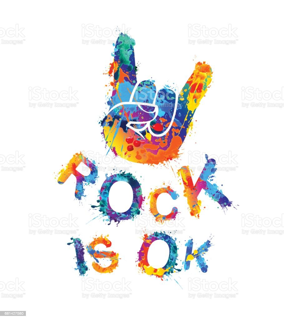 Rock is ok. Hand sign of horns. royalty-free rock is ok hand sign of horns stock vector art & more images of arts culture and entertainment