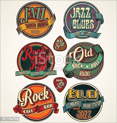 istock Rock jazz and blues retro vintage badges and labels collection 517194758