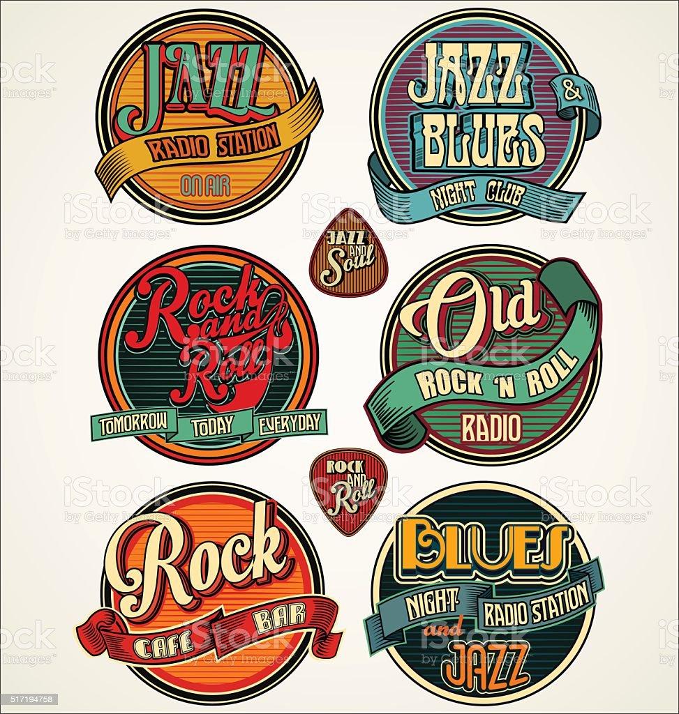 Rock jazz and blues retro vintage badges and labels collection vektör sanat illüstrasyonu