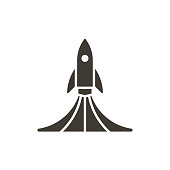 istock Rock launch icon. Vector design spaceship lifting off with smoke illustration 970091946