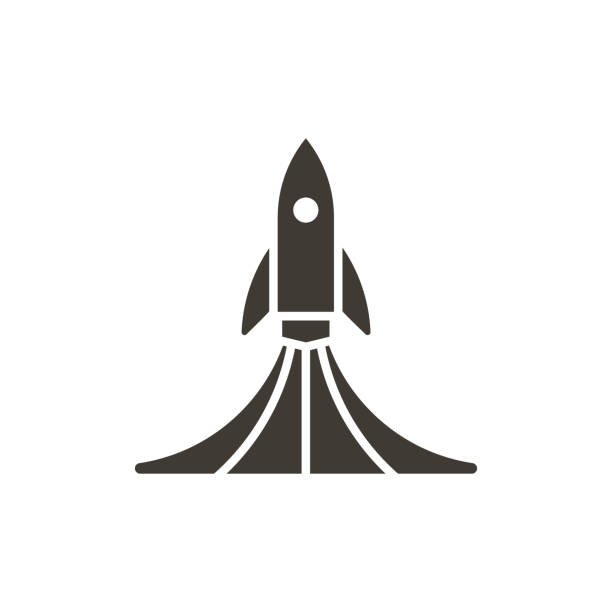 Rock launch icon. Vector design spaceship lifting off with smoke illustration vector eps10 rocket stock illustrations