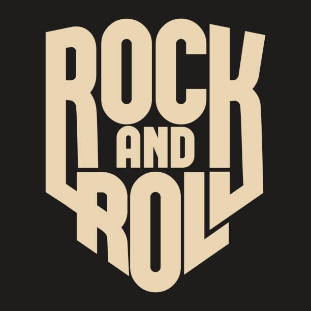 ilustrações, clipart, desenhos animados e ícones de pedra da rotulação, cartaz ou t-shirt design, vetor - música rock
