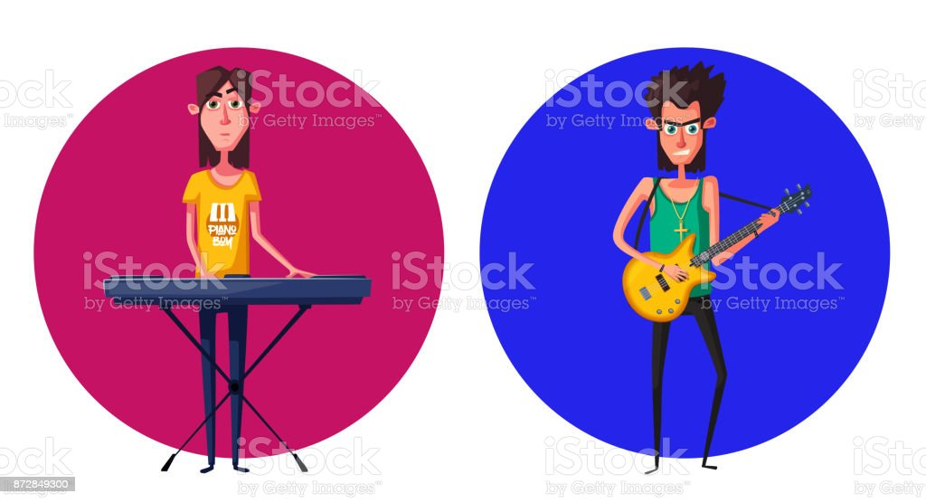 Rock Music Band Character Old School Party Cartoon Vector Illustration  Stock Vector Art & More Images of 1950-1959