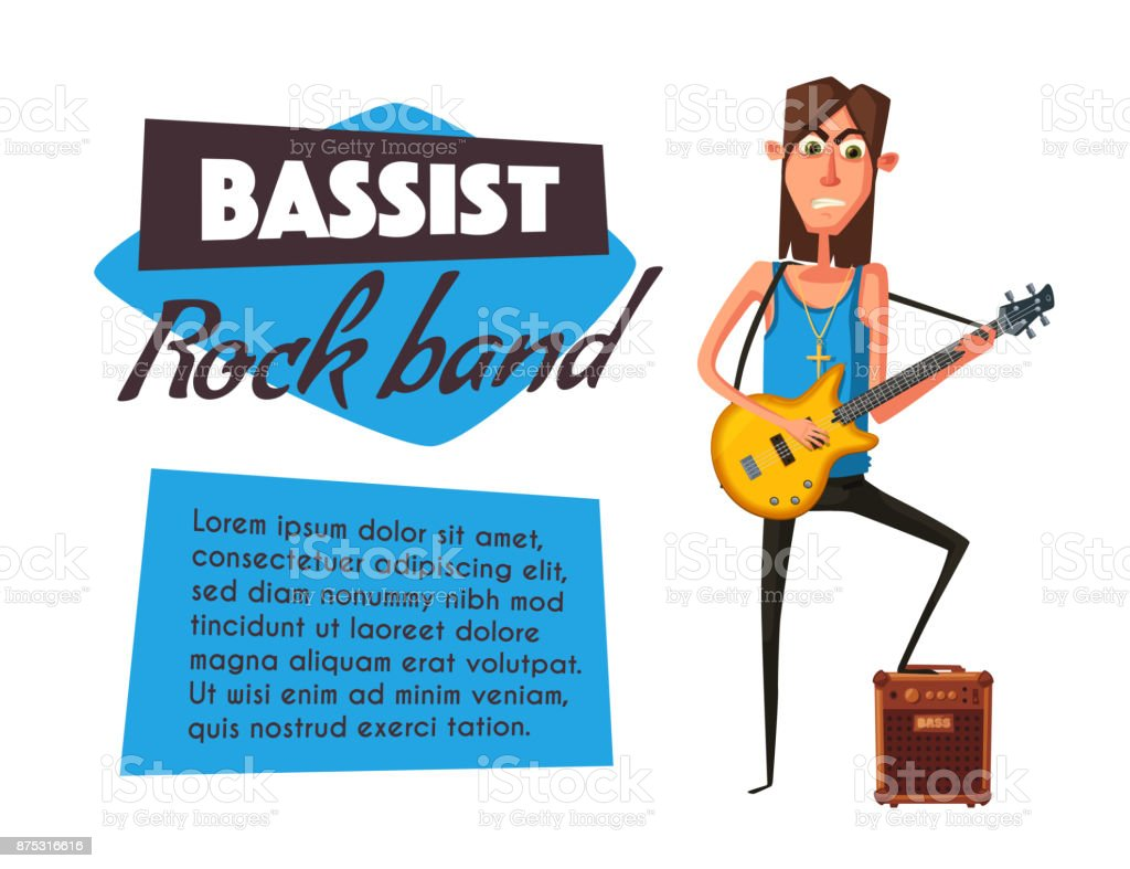 Rock Music Band Character Old School Party Cartoon Vector
