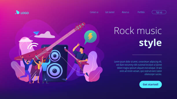 Rock music concept landing page. vector art illustration