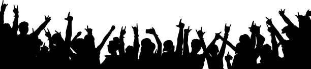 Rock music concert crowd silhouette isolated on white background Rock music concert crowd silhouette isolated on white background - black outline of people dancing with arms in the air. Party festival audience vector illustration crowd of people stock illustrations