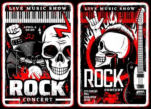 Rock music concert grunge posters, metal festival