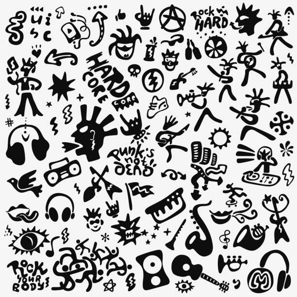 rockmusik doodle set - punk stock-grafiken, -clipart, -cartoons und -symbole