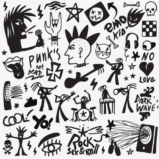 rockmusik-doodles - punk stock-grafiken, -clipart, -cartoons und -symbole