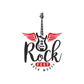 Rock music fest , emblem for Rock festival, guitar party, musical performance, design element can be used for poster, banner, flyer, print or stamp vector Illustration on a white background