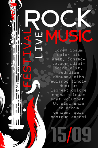 Rock music festival poster template. Vertical banner with rock guitar in grunge style and paint splashes.