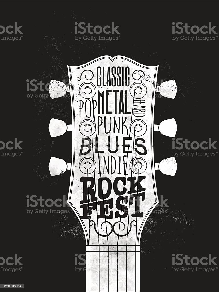 Rock Music Festival Poster. Vintage styled vector illustration. vector art illustration