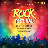 Rock band on mulit-colored spotlight stage for music performance poster.