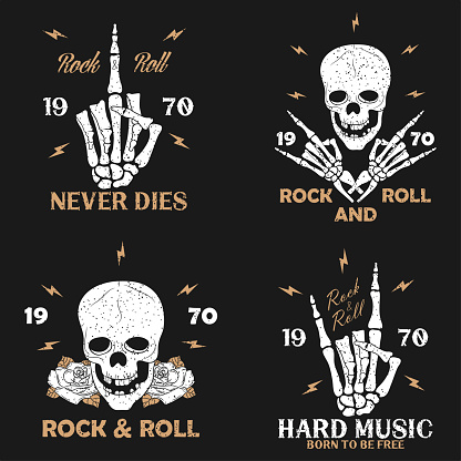 Rock music grunge print for apparel with skeleton hand, skull and rose. Vintage rock-n-roll t-shirt graphics set. Design for typography clothes emblem collection. Vector