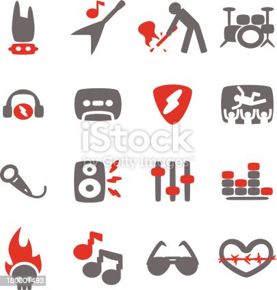 Vector File of Rock Music Icon Set with Reflect