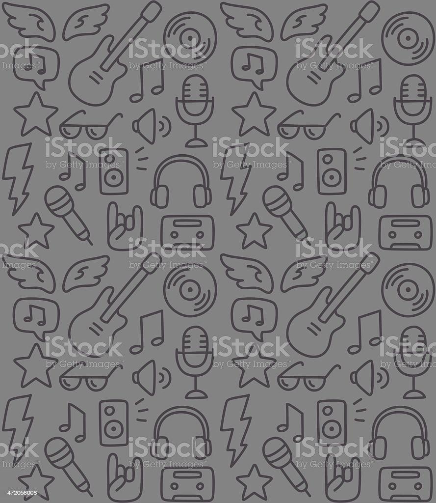 Rock music pattern vector art illustration