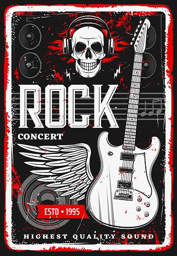 Rock music poster skull, guitar concert festival