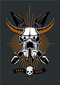 Heavy metal tattoo. Rock music poster with bull skull, microphone and guitar. Grunge style. Vector illustration.