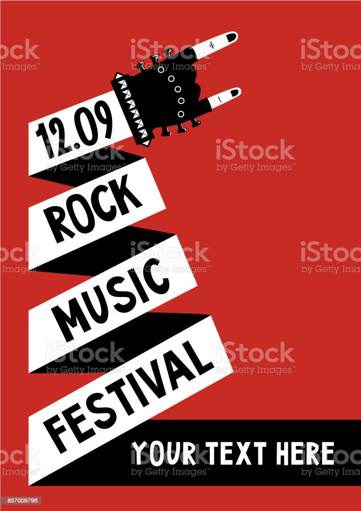 Rock music poster with hand. Billboard template vector art illustration