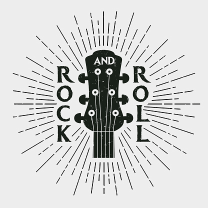 Rock music print, rock and roll stamp with guitar. Label in vintage hipster style. Graphic design for clothes, t-shirt, apparel. Vector