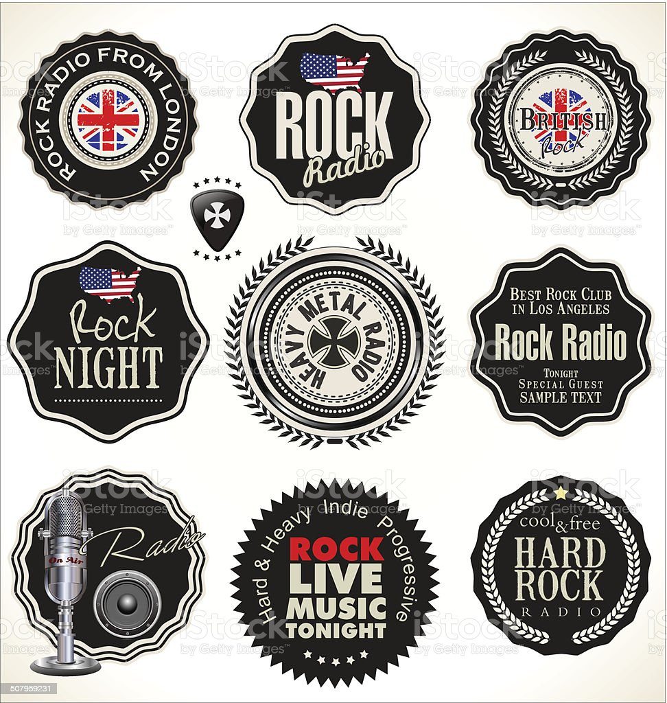 Rock music retro labels vector art illustration