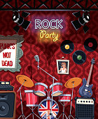 Rock music stage in pub ready for party