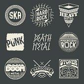 Rock Music Styles Genres Logotypes Set 1.