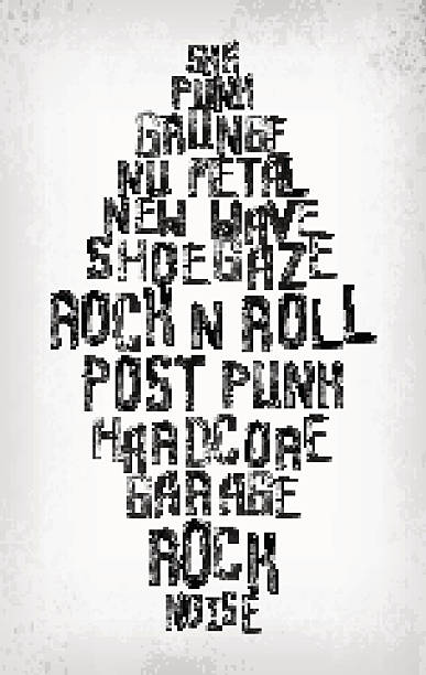 Rock music styles tag cloud, grunge oldschool typography stamp vector art illustration