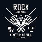 Rock music t-shirt design. Vintage rock festival poster design, slogan for t-shirt print. Hands of skeleton and lettering on dark background